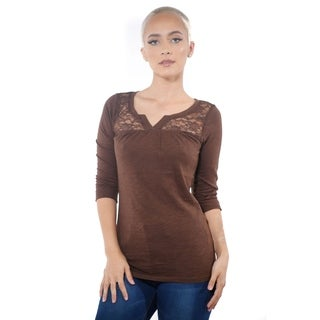 Ladies V Neck Lace Short Sleeve Top