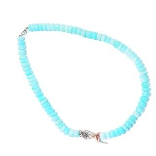 Michael Valitutti Palladium Silver Beaded Peruvian Opal & Rhodolite Garnet Fairy Necklace