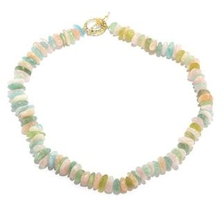 Michael Valitutti Palladium Silver Freeform Multi Color Beryl Bead Toggle Necklace