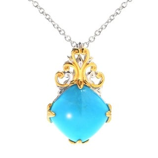 Michael Valitutti Palladium Silver Cushion Sleeping Beauty Turquoise Pendant