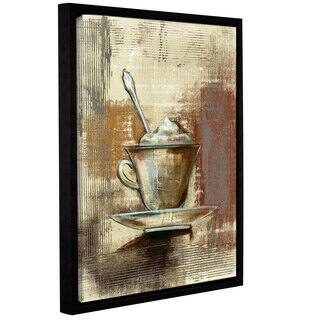 Silvia Vassileva 'Cafe Classico III' Neutral Gallery-wrapped Floater-framed Canvas