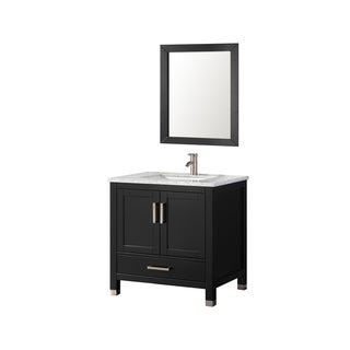 30 inch Belvedere  Espresso Bathroom Vanity with Italian Carrara Marble Top