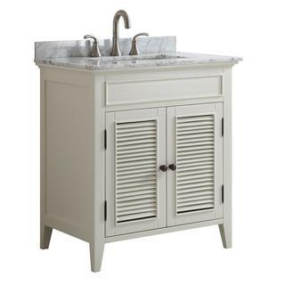 30 inch Belvedere White Shutter Door Style Bathroom Vanity with marble top
