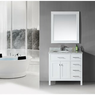 36 inch Belvedere Traditional Freestanding White Bathroom Vanity with marble top