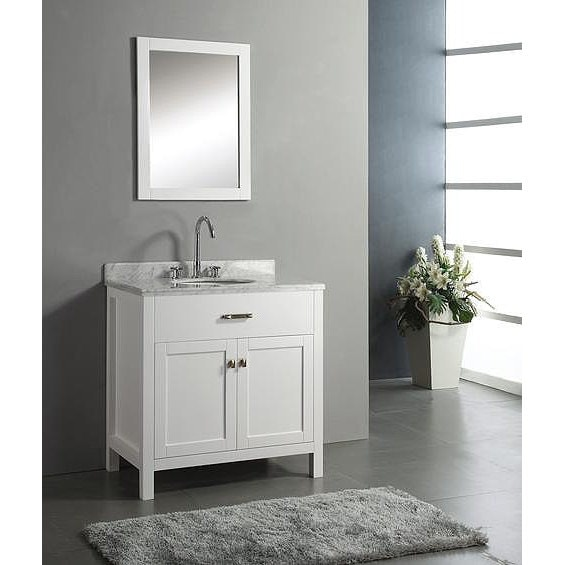 30 Inch Belvedere Freestanding White Bathroom Vanity With Marble Top