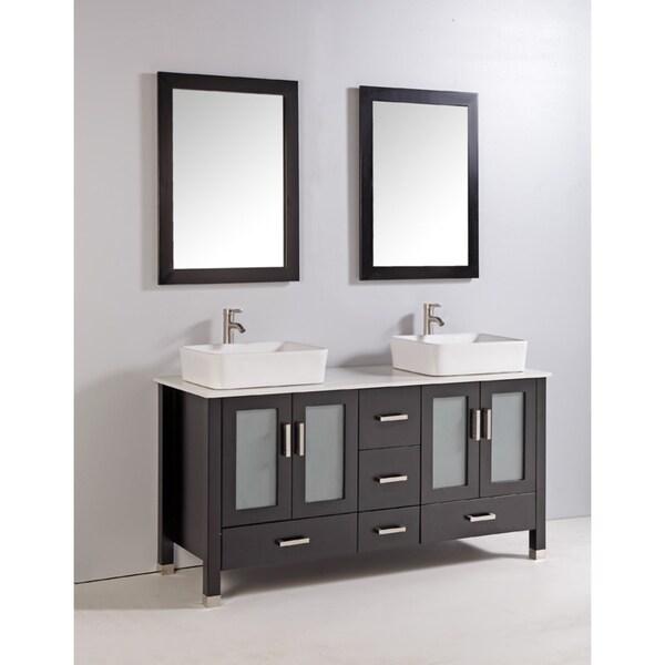 Shop 60 inch belvedere freestanding espresso double vessel - Freestanding double bathroom vanity ...