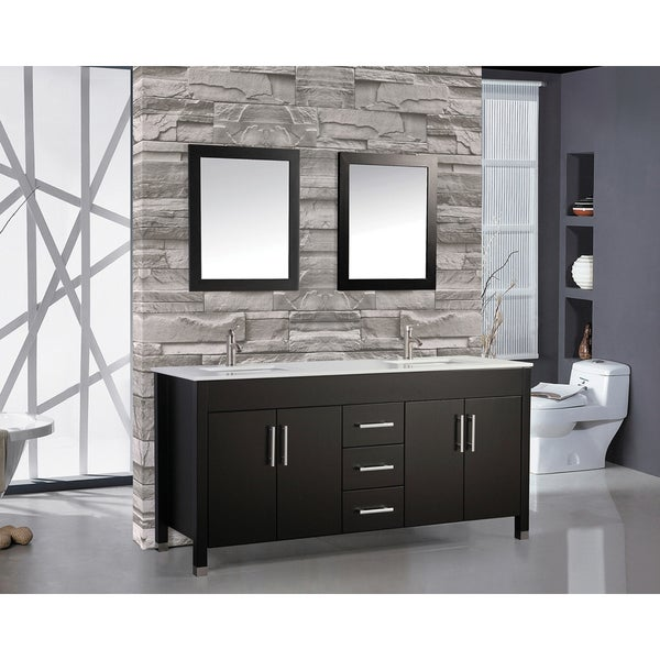 60 Inch Belvedere Freestanding Espresso Double Bathroom Vanity W/ Stone Top