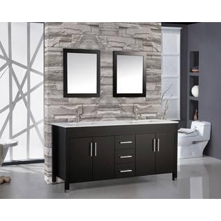 60 Inch Belvedere Freestanding Espresso Double Bathroom Vanity W Stone Top