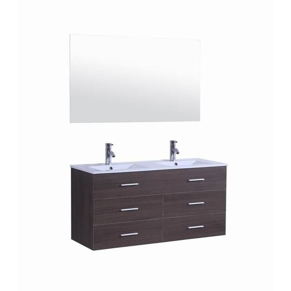 48 inch Belvedere Modern Veneer Wall Floating Bathroom Vanity w/ Double Sink