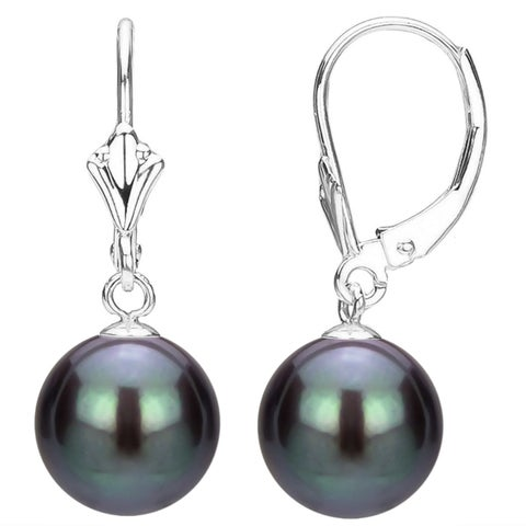 DaVonna 14k White Gold Black Round Freshwater Pearl Leverback Dangle Earring.