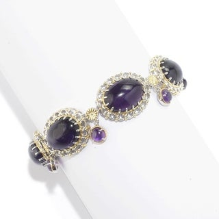 Michael Valitutti Palladium Silver African Amethyst Dangling Charm Link Bracelet - Purple