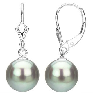 DaVonna 14k White Gold Grey Round Freshwater Pearl High Luster Fleur de Leverback Dangle Earring.