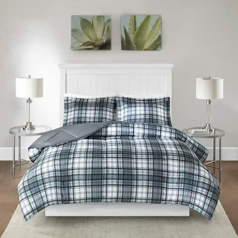Madison Park Essentials Hartford Plaid Gray 3M Scotchgard Moisture Wicking Down Alternative Comforter Set