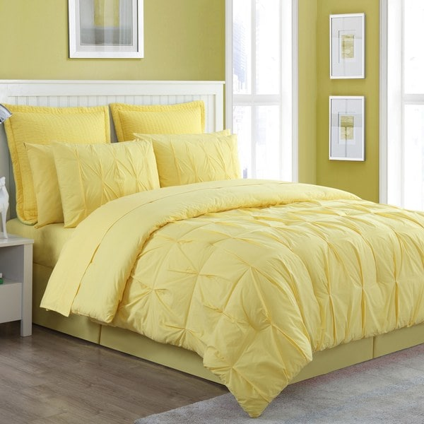 Fiesta Cotton 4 Piece Pintuck Luna Solid Comforter Set