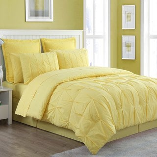 Fiesta Cotton 4 Piece Pintuck Luna Solid Color Comforter Set- Bedskirt Included