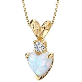 Oravo 14K Yellow Gold Gold Heart Shape Created Opal Diamond Pendant