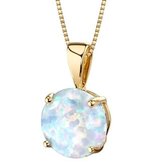Oravo 14K Yellow Gold Gold Created Opal Solitaire Pendant