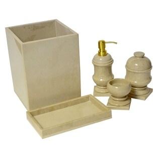 Polished Marble 7-Piece Bath Set, Beige, Shower and Bathroom Accessory
