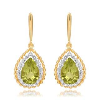Marabela Sterling Silver Gold Plated Peridot Tear Drop Dangle Earrings
