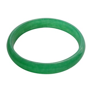 Solid Green Jade Bangle-Size 8