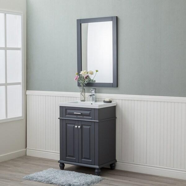 Alya Bath Lancaster Grey Ceramic Wood And Chrome 24 Inch Single Sink