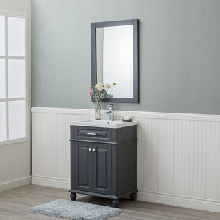 Alya Bath Lancaster Grey Ceramic, Wood, and Chrome 24-inch Single-sink Bathroom Vanity With Porcelain Top