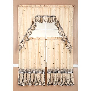 RT Designers Collection Ruffle Paris Tier and Valance Kitchen Curtain Set