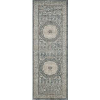 Kendrick Blue/ Sand Medallion Runner Rug (2'8 x 7'6)