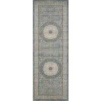 Traditional Blue/ Beige Medallion Border Runner Rug - 2'8 x 10'6