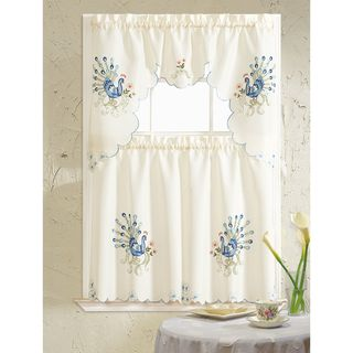 RT Designers Collection Peacock Embroidered Tiers and Valance Kitchen Curtain Set