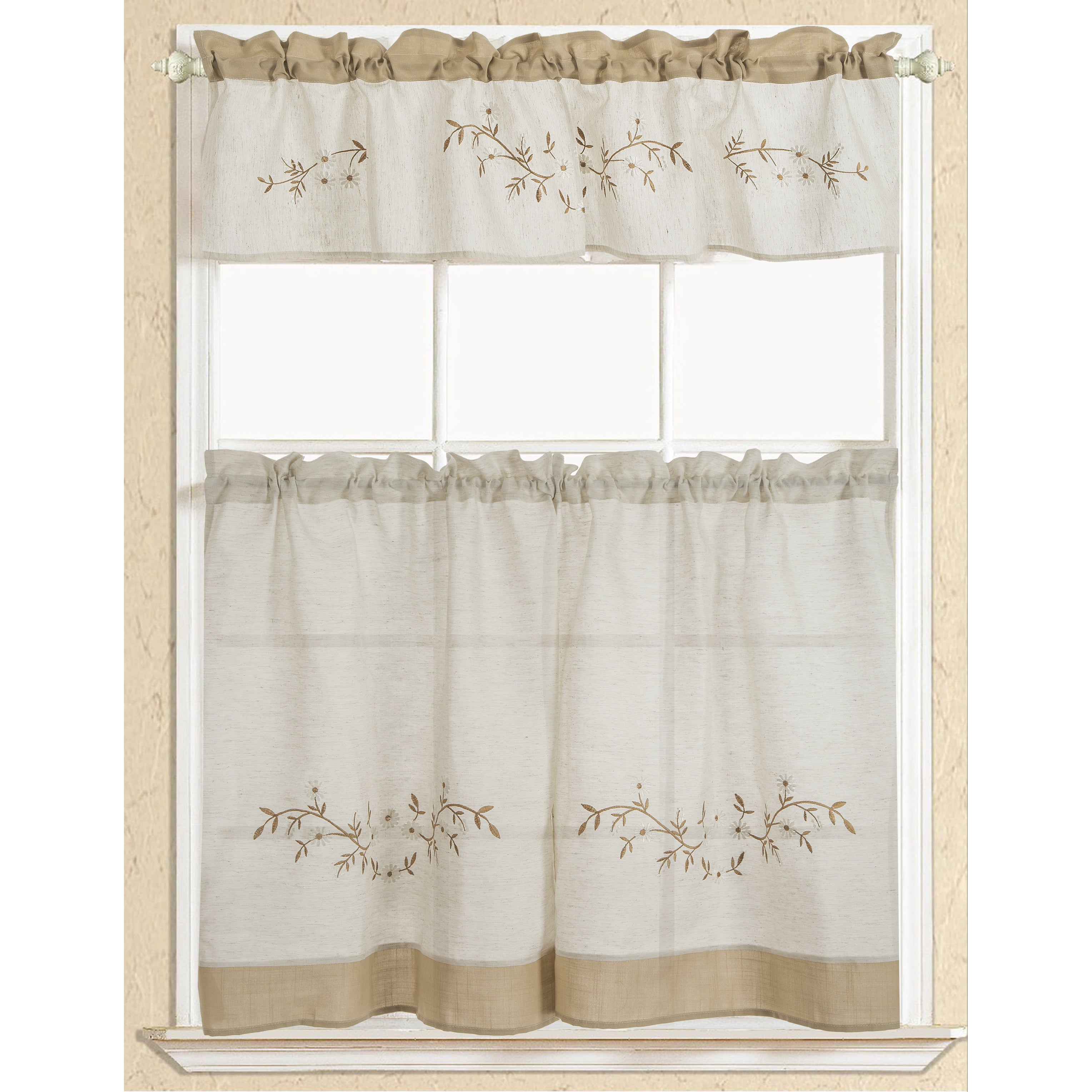 RT Designers Collection Rustic Embroidered Floral Tier an...