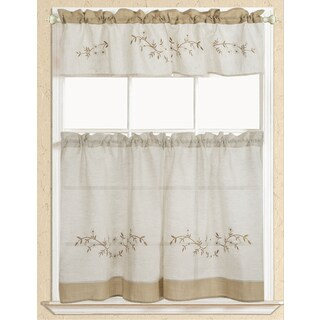 RT Designers Collection Rustic Embroidered Floral Tier and Valance Kitchen Curtain Set (Option: Taupe)