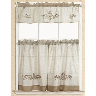 RT Designers Collection Rustic Embroidered Scroll Tier and Valance Kitchen Curtain Set