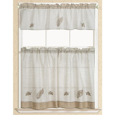 RT Designers Collection Rustic Embroidered Leaf Tier and Valance Kitchen Curtain Set