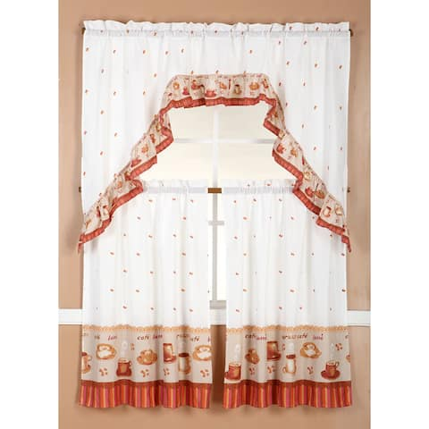 RT Designers Collection Ruffle Coffee Tier and Valance Kitchen Curtain Set