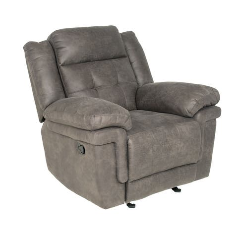Greyson Living Austin Grey/Brown Microfiber/Wood Glider Reclining Chair