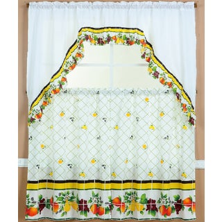 RT Designers Collection Ruffle Fruit Medley Tier and Valance Kitchen Curtain Set