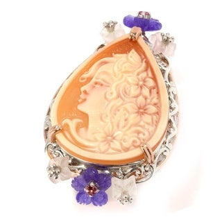 Michael Valitutti Palladium Silver Carved Shell Cameo & Multi Gemstone Flower Ring - Orange