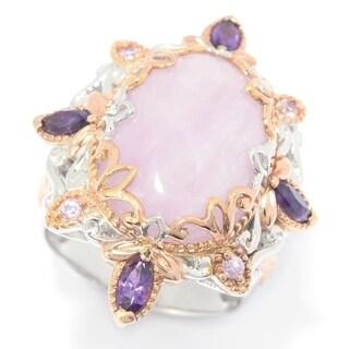 Michael Valitutti Palladium Silver Oval Kunzite, Amethyst & Pink Sapphire Ring (3 options available)