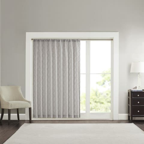 Madison Park Iris Embroidered Diamond Sheer Wide Width Curtain Panel - 100 x 84 - 100 x 84