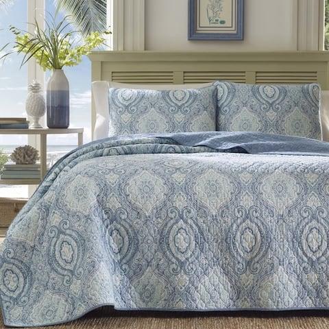Tommy Bahama Turtle Cove Cotton Reversible Caribbean Blue Quilt Set