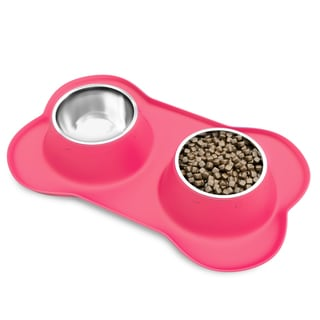 PetMaker Stainless Steel Pet Bowls- Set of 2 Dishes for Food and Water