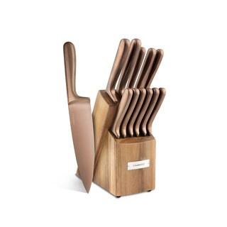 Cambridge Silversmiths Rame Smooth Copper 12 Piece Cutlery Set With Block