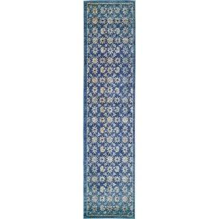 Copenhagen Navy Blue/Cream Floral Runner Rug (3' x 13')