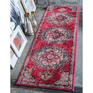 Palazzo Pink/Blue Floral Runner Rug (2'7 x 10')