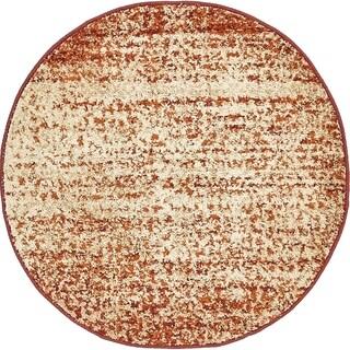 Harvest Beige/Cream Abstract Round Rug (3' 3 x 3' 3)