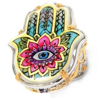 Michael Valitutti Palladium Silver Hand-Painted Mother-of-Pearl & Amethyst Hamsa Ring