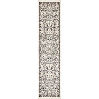 Tabriz Burgundy/Cream Border Runner Rug (3' x 13')