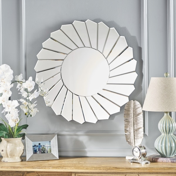 Drema Sunflower Hanging Wall Mirror by Christopher Knight Home - Clear - N/A