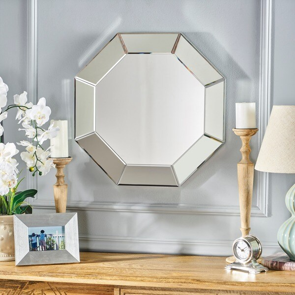 Coralynn Hexagonal Wall Mirror by Christopher Knight Home - Clear - N/A